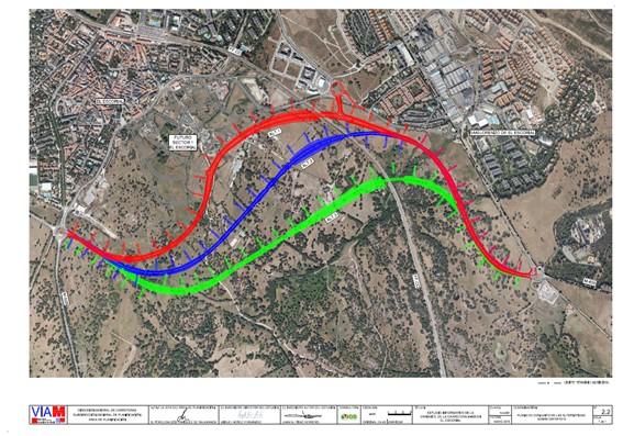 Plano Conjunto de las Alternativas a la Variante de M600 en El Escorial - Territorio histórico de la Cerca de Felipe II